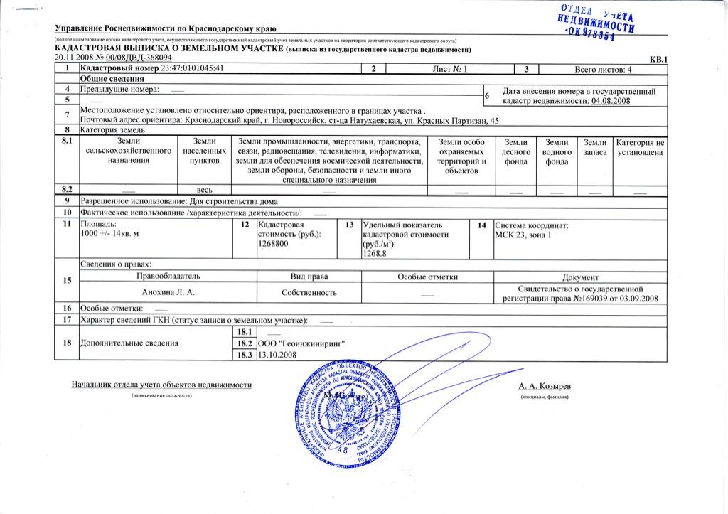 Выписка из ЕГРП Росреестр образец бланк - Бизнес статьи